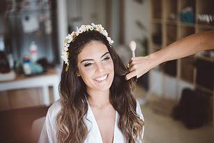 הכלה ירדן בסוף האיפור והשיער ביום החתונה