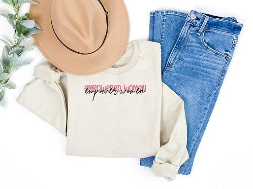 Empowered Women Empower Women (tan sweatshirt w/pink)