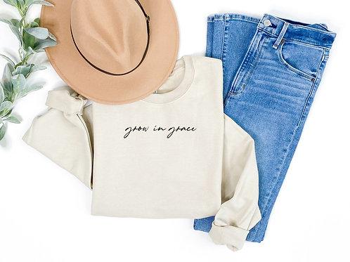 grow with grace (tan sweatshirt w/black)