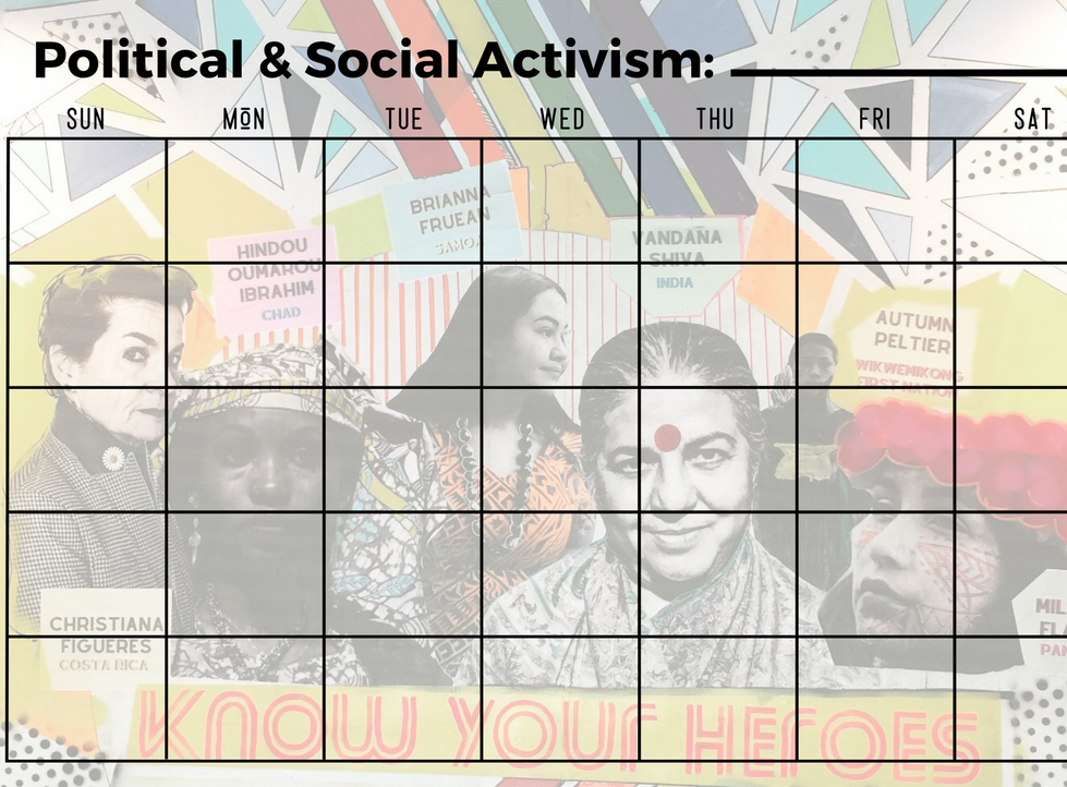 Social and Political Activism Calendar - Write In Calendar- Know Your Heroes