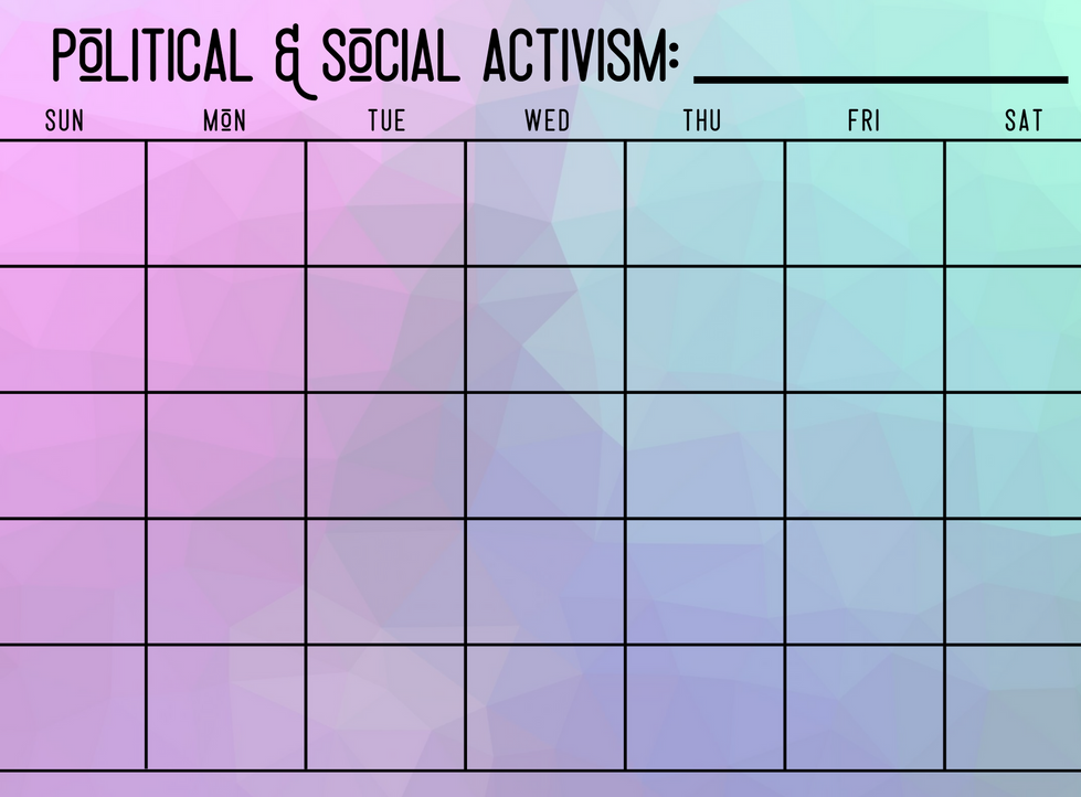 Social and Political Activism Calendar - Write In Calendar - Purple Prism