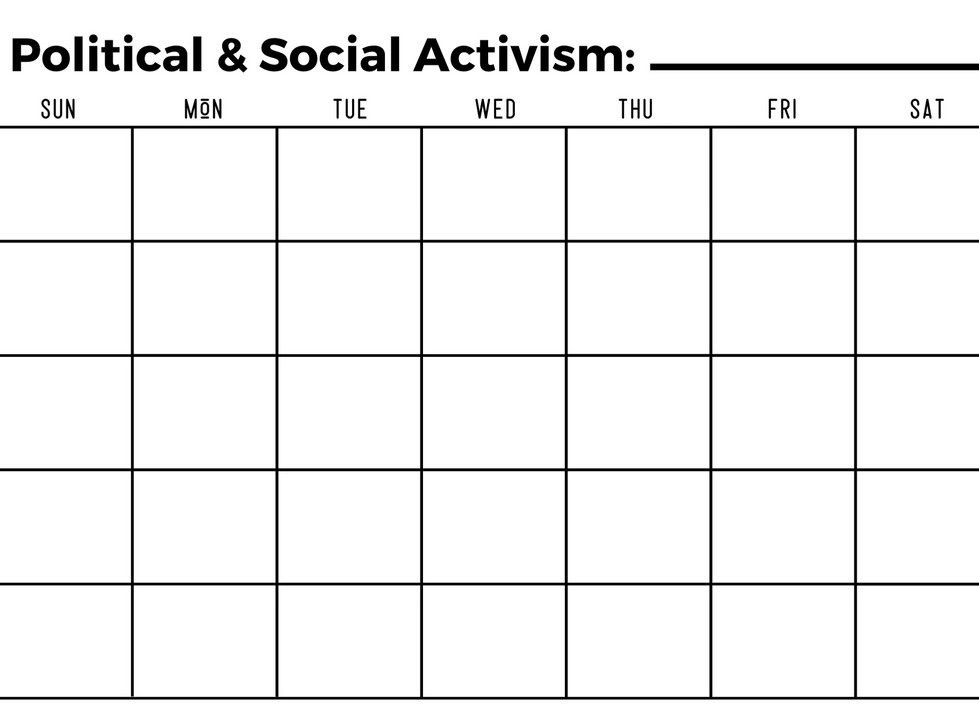 Social and Political Activism Calendar - Write In Calendar - Black and White