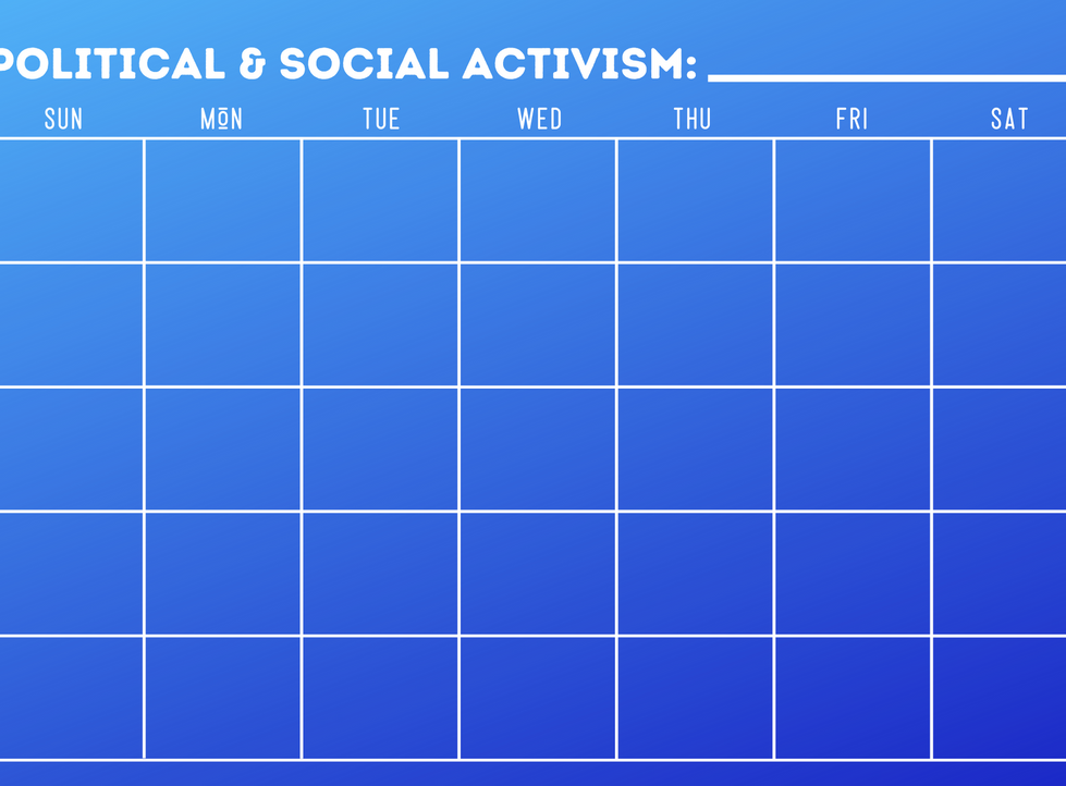 Social and Political Activism Calendar - Write In Calendar - Blue