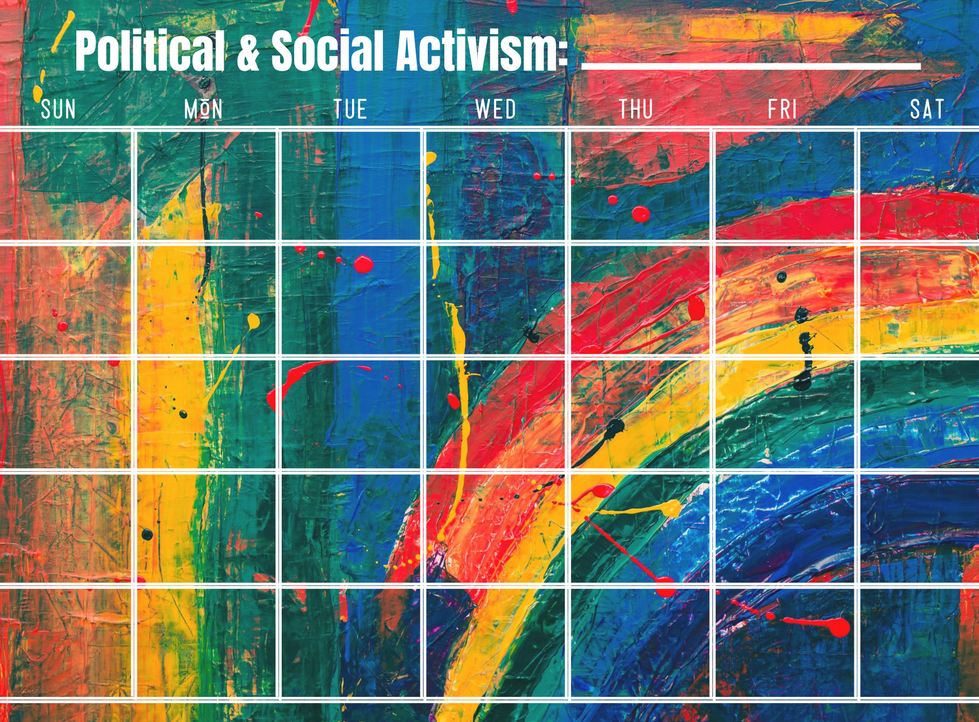 Social and Political Activism Calendar - Write In Calendar - Rainbow