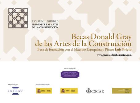 Convocatoria 2019 de la Beca de formación Donald Gray con el maestro estuquista Luis Prieto