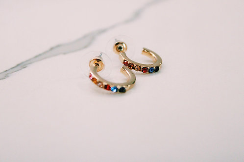 Pop of Color Studded Hoops
