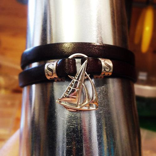 #Sail Boat Bracelet צמיד עור עם סירה