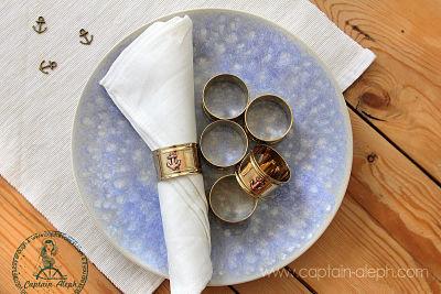 Set Brass Napkin Rings סט 6 חבקים למפיות