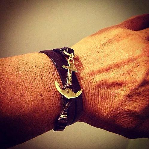 Anchor bracelet צמיד עור עם עוגן