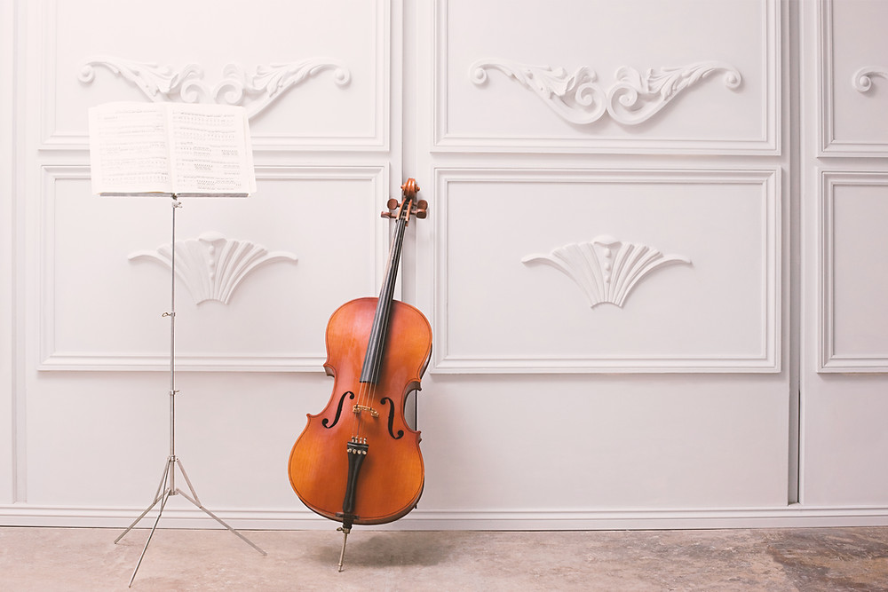 a lonely cello in a white room