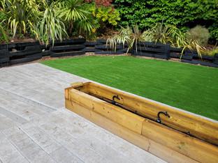 Decking, Flower Bed & Artificial Grass