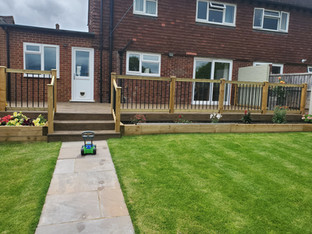 Turfed Lawn, Decking and Fence