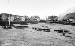 Soldiers lining up in Fort Seward