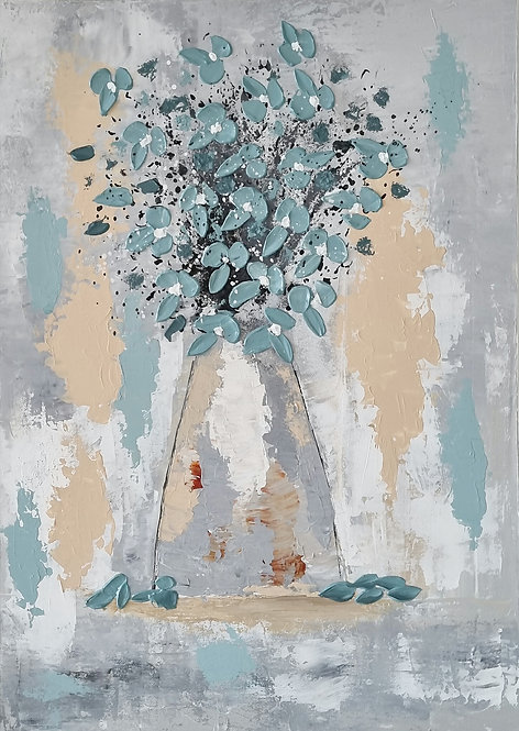 Commision Painting VASE WITH TEAL FLOWERS #2