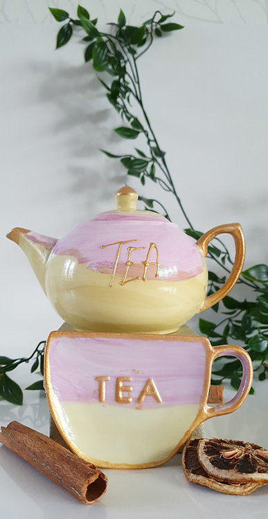 GOLDEN DREAM Teapot and Tea bag Holder -   Hand Painted | Dishwasher Safe |