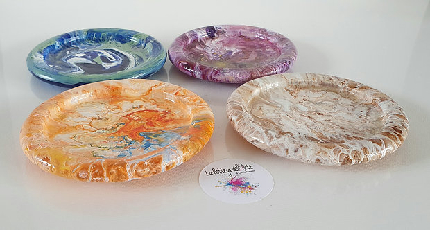 GLASS SOAP DISH  Resin Finish - Hand painted | Dishwasher Safe |