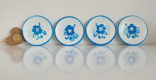 BLUE FLOWERS CERAMIC COASTERS Hand painted | Dishwasher and Microwave Safe |