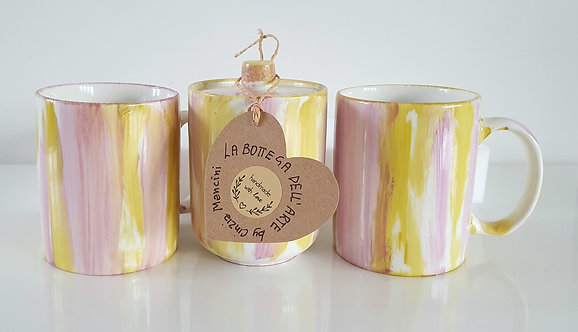 GREEN YELLOW and LIGHT PURPLE SET Hand painted | Dishwasher and Microwave Safe |