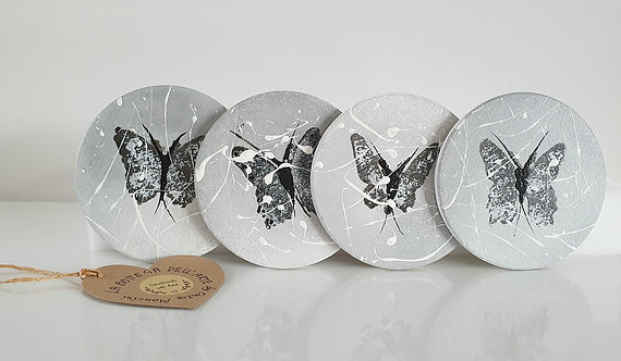 BUTTEFLIES CERAMIC COASTERS Hand painted   Dishwasher and Microwave Safe  