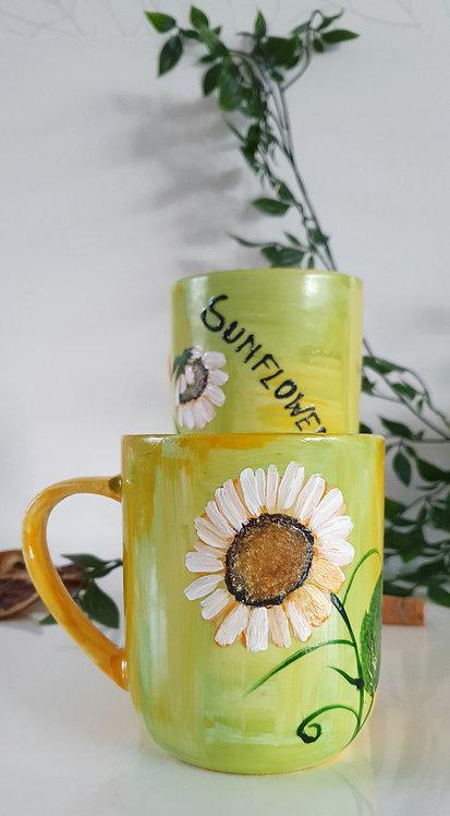 SUNFLOWERS TEA MUGS -  Hand painted | Dishwasher Safe |