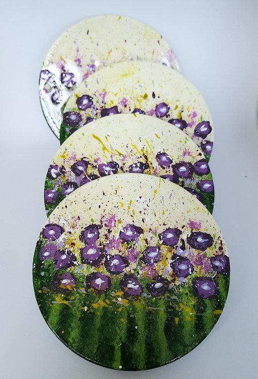 MEADOW PURPLE FLOWERS FEAST Ceramic Coasters