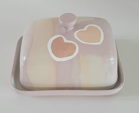 TWOO HEART BUTTER DISH Hand painted | Dishwasher and Microwave Safe |