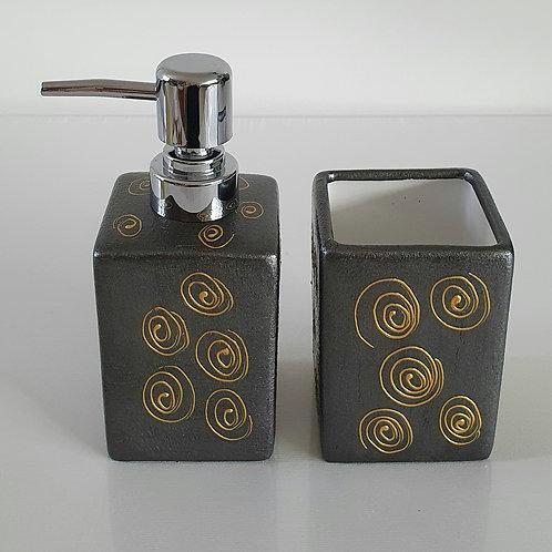ORIENTAL SET  Soap Dispenser and Tumbler - Hand painted | Dishwasher Safe |