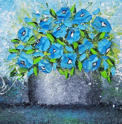 VASE OF BLUE ROSES