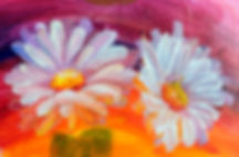Oil painting daisy flowers. Hand paint w