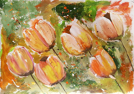 ORANGE TULIPS FIELD Commission for Louise. F
