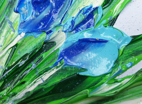 Exploring blue tulips with palette knife...