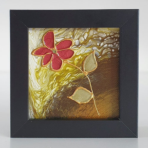 Mini Painting with Artistic Background -  Daisy design  | Black Wood Frame |