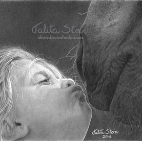 Beijinho doce: Retrato em desenho realista, com base em foto de referência