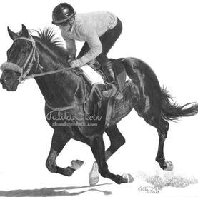 Cavalo de corrida: Desenho feito com mudanças em relação a referência