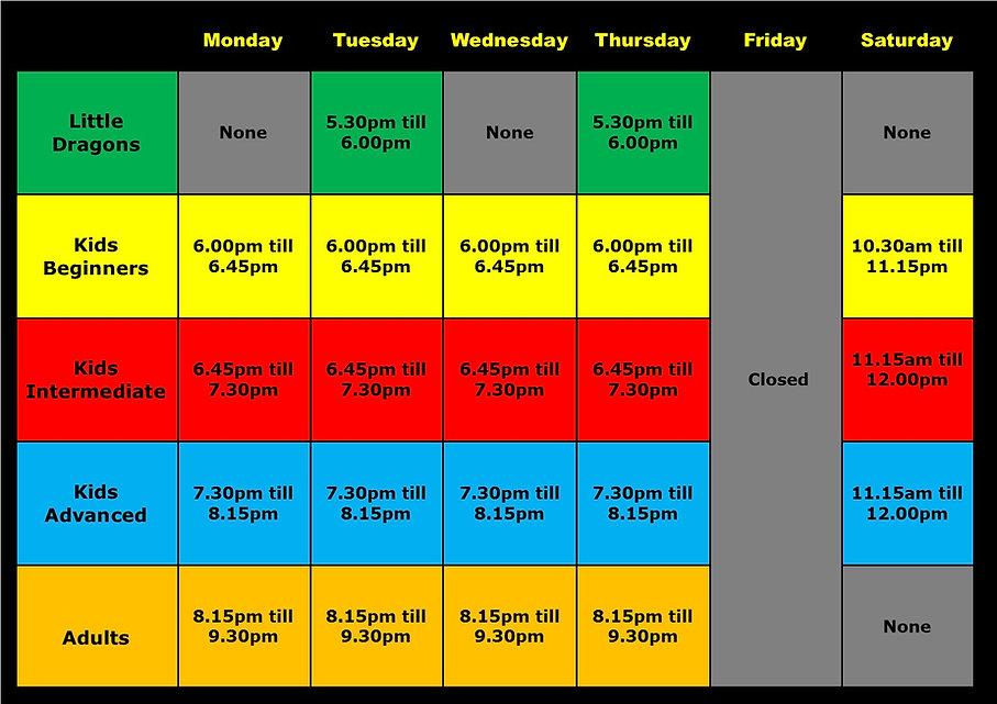 Ossett Martial arts Time Table