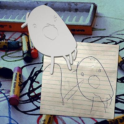 Pingente em prata inspirado em desenho de criança