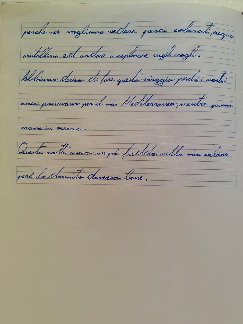 testo originale, scritto a mano, come una volta