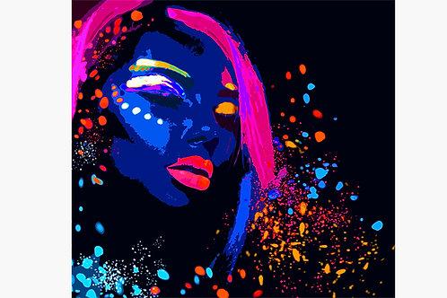 Retro Pop Girl Neon Contemporary art Canvas and Metal Print