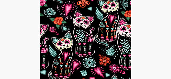 Day of the Dead Cats Canvas and Metal