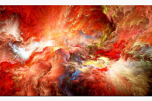 Red Clouds Abstract Metal Art