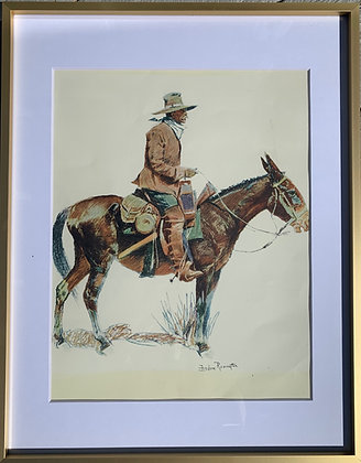 Fredrick Remington signed-1909 Framed Art