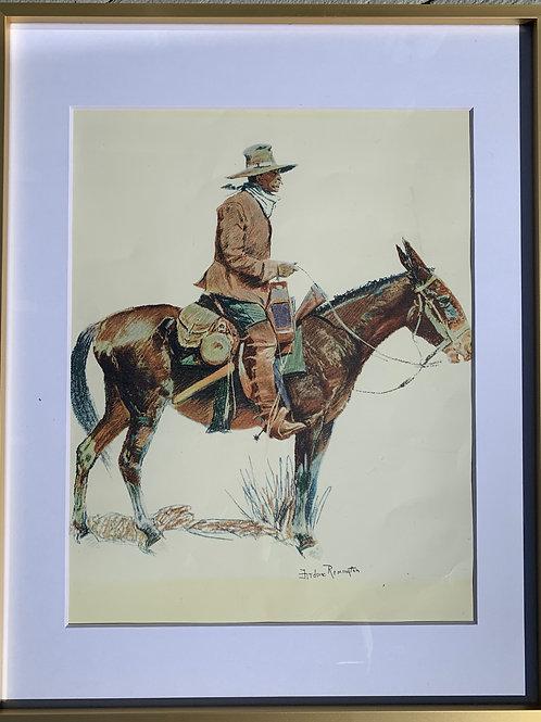 Fredrick Remington signed-1909 Framed Art
