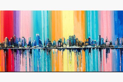 City Landscape Colorful Painted Canvas