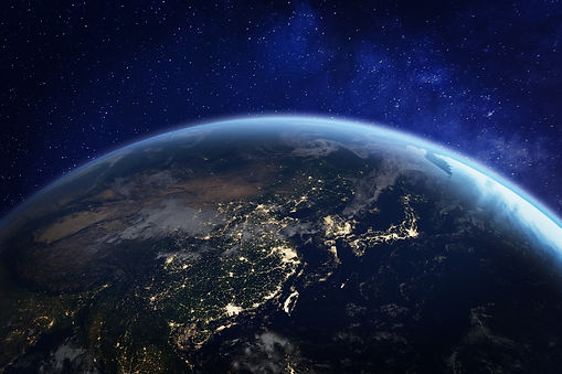 Asia at night from space with city light