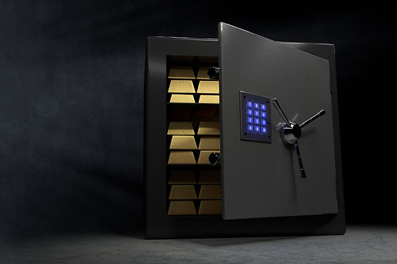 A vault with a couple of golden bars and
