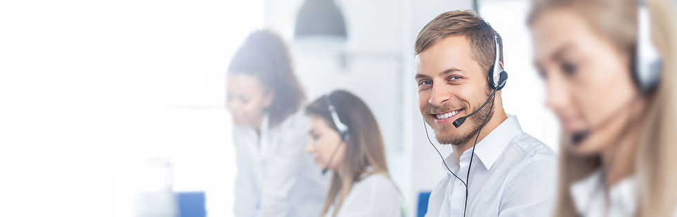 Call center worker accompanied by his te