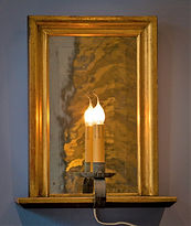 Electrified Handmade Gilded, Mirrored Candle Sconce