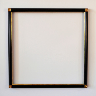 Corner block drawing frame. Water gilded with black paint