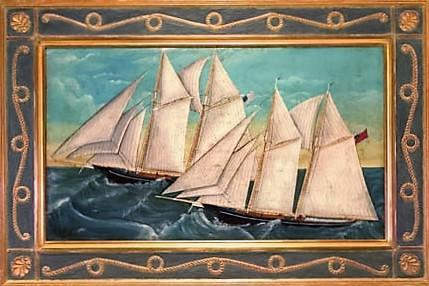 Ship at Sea Nautical-Style Frame