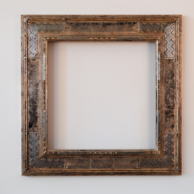 Bucks County inspired cassetta frame. Water gilded silver with tarnished patina